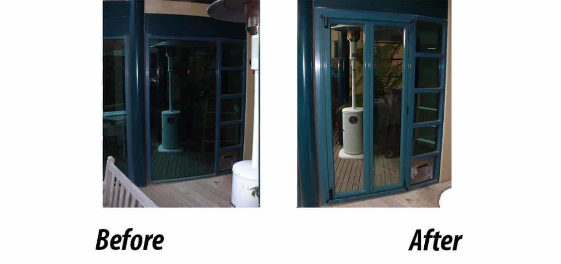 Before and after installation of aluminium Bifold doors in Melbourne