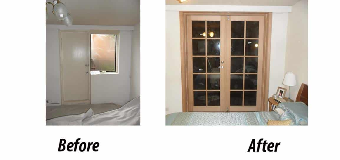 Before and after installation of french doors in Melbourne